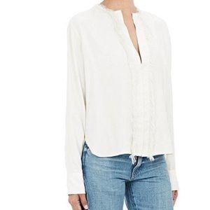Silk blouse with fringe trim